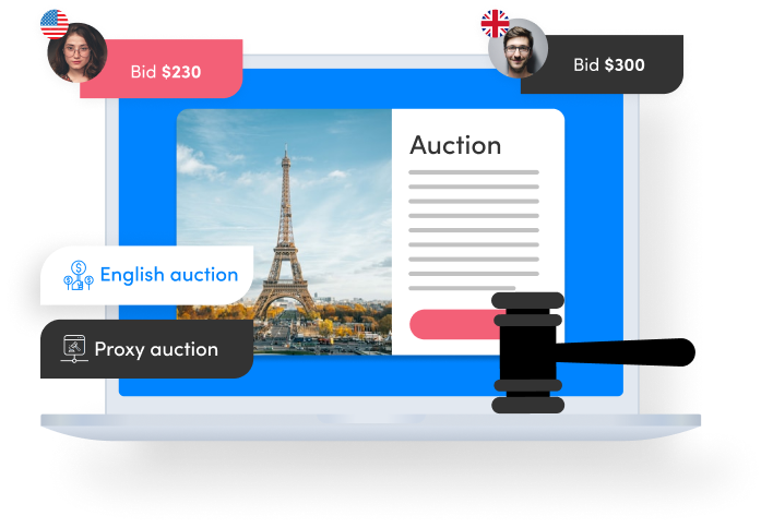 auction screen with two bids, bullet points: English auction, proxy auction