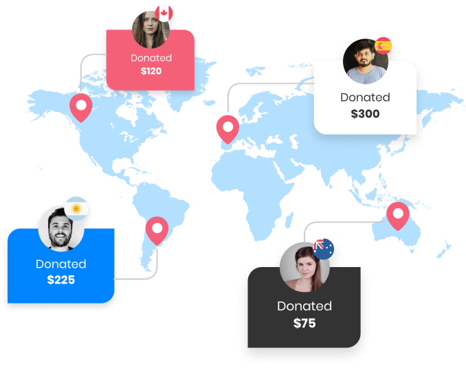 a graphic of the world map with different faces on it showing how much they donate and a flag of their country
