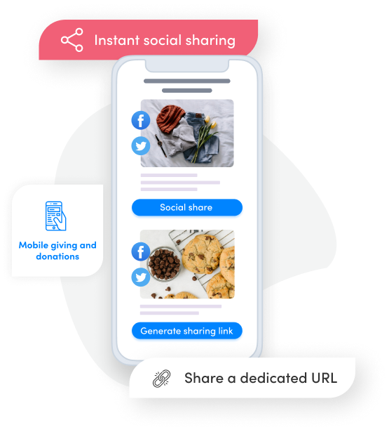 a phone with an image of yarn and an image of cookies and buttons to share the fundraisers